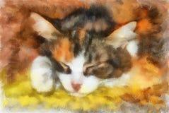 Ilustración, gato el dormir libre illustration