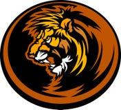 Ilustración gráfica principal de la mascota del león Foto de archivo