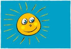 Ilustración infantil de una cara sonriente del sol Imagenes de archivo