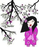 Ilustración japonesa de la mujer stock de ilustración