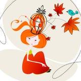 Ilustración linda de la muchacha del otoño Imágenes de archivo libres de regalías
