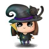 Ilustración linda de Víspera de Todos los Santos Pequeño niño en traje fantasmagórico de la bruja con el gato negro, el sombrero  libre illustration