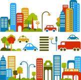 Ilustración linda del vector de una calle de la ciudad Imagen de archivo libre de regalías