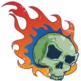 Ilustración llameante del vector del estilo del tatuaje del cráneo Foto de archivo libre de regalías