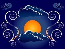 Ilustración mística de la luna   stock de ilustración