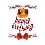 Ilustración manuscrita del VECTOR: ` del feliz cumpleaños del ` con el dibujo de la torta Imagenes de archivo