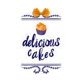 Ilustración manuscrita del VECTOR: ` delicioso de las tortas del ` con la torta dibujada mano, azul Foto de archivo libre de regalías