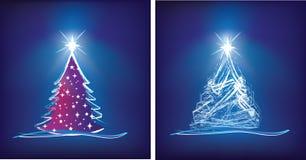 Ilustración moderna del árbol de navidad en azul ilustración del vector