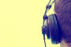 Ilustración negra de los auriculares Foto de archivo libre de regalías