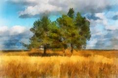 Ilustración, paisaje con los árboles stock de ilustración