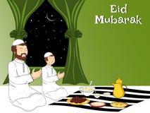 Ilustración para la celebración de Mubarak del eid stock de ilustración