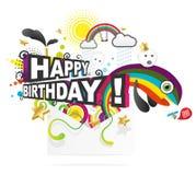 Ilustración para la tarjeta del feliz cumpleaños stock de ilustración