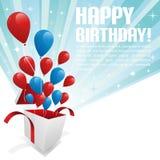 Ilustración para la tarjeta del feliz cumpleaños con los globos Imagen de archivo