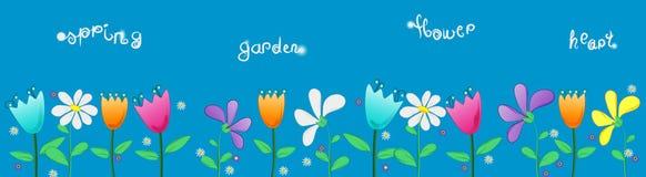 Ilustración para los niños de las flores del jardín del tge stock de ilustración
