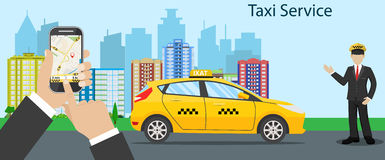 Ilustración para usted diseño Taxi amarillo Fotos de archivo libres de regalías