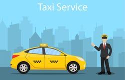 Ilustración para usted diseño Taxi amarillo Fotografía de archivo