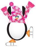 Ilustración patinadora de la pirueta del pingüino Foto de archivo