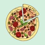 Ilustración Pizza apetitosa Feliz cumpleaños Fotos de archivo