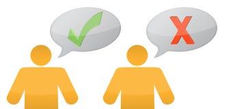 Ilustración positiva y negativa de los mensajes Imagen de archivo