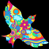 Ilustración psicodélica del vector de la paloma stock de ilustración