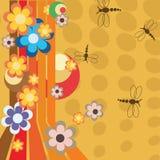 Ilustración retra con las flores Fotos de archivo libres de regalías