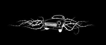 Ilustración retra del coche viejo. Vector ilustración del vector