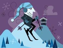 Ilustración retra del esquiador Imagen de archivo