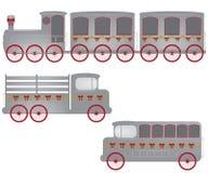 Ilustración retra del tren, del carro y del omnibus Imagen de archivo