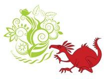Ilustración roja del dragón con el fondo del diseño ilustración del vector