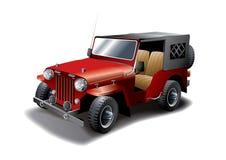 Ilustración roja del jeep de la vendimia Imagen de archivo libre de regalías