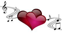 Ilustración romántica del vector de la música Fotos de archivo