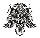 Ilustración simétrica estilizada con los pájaros Fotografía de archivo