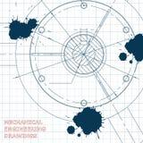 Ilustración técnica bosquejo tinta blots Imágenes de archivo libres de regalías