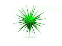 Ilustración verde aislada molécula/3d de las bacterias Imágenes de archivo libres de regalías
