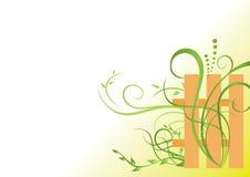 Ilustración verde floral con la palizada Foto de archivo libre de regalías