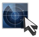 Ilustración y cursor azules del botón del radar Imagenes de archivo