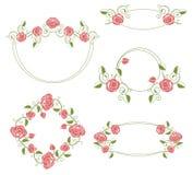 Ilustración y marcos, color de los ornamentos florales Fotografía de archivo libre de regalías