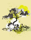 Ilustración y medallón del árbol stock de ilustración
