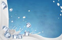 ilustraci?n 3D El ejemplo del chapoteo de la leche, leche realista salpica fotografía de archivo libre de regalías