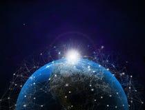 ilustraci?n 3D Mapa del mundo con las conexiones de datos de sat?lite Conectividad a trav?s del mundo ilustración del vector