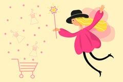 Ilustraci?n de una muchacha de hadas Estilo plano del vector Haga las compras en l?nea stock de ilustración