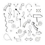 Ilustraci?n del vector conjunto divisas Flechas a mano que se?alan en diversas direcciones stock de ilustración