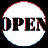 Ilustraci?n del vector La imagen está abierta Estamos abiertos otra vez para usted Bandera que hace publicidad de actividad libre illustration