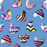 Ilustraci?n del vector Modelo incons?til con los corazones lindos pintados en colores del arco iris en el fondo azul ilustración del vector
