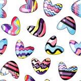 Ilustraci?n del vector Modelo incons?til con los corazones lindos pintados en colores del arco iris en fondo transparente stock de ilustración