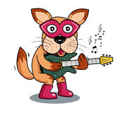 Ilustraci psia bawić się gitara elektryczna ilustracja wektor