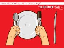 Ilustración #0013 - Manos que sostienen la fork de la cuchara y Imagen de archivo