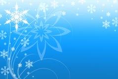 Ilustración azul del fondo de los copos de nieve y de los remolinos Fotos de archivo libres de regalías