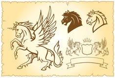 Ilustración coa alas del unicornio Imágenes de archivo libres de regalías