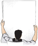 Ilustración común Un hombre sostiene una hoja de papel para su texto Fotos de archivo libres de regalías